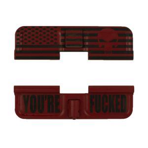 AR-15 Dust Cover - American Punisher Flag Wrap - You're Fucked - Cerakote Red