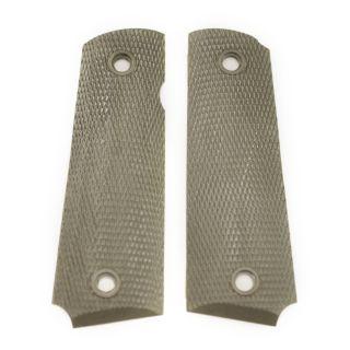 1911 Checkered Nylon Pistol Grip - Blank - Olive Drab Green