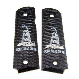 1911 Laser Engraved Grip - Don't Tread On Me - Ivory on Black