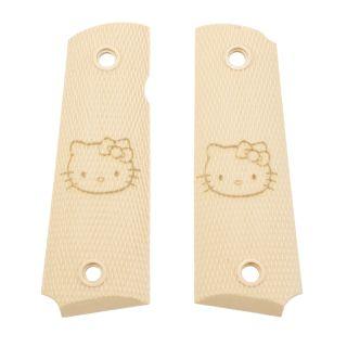 1911 Laser Engraved Grip -  Hello Kitty Face - Tan