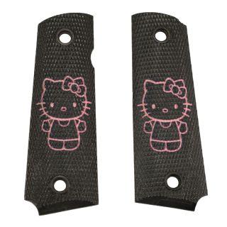 1911 Laser Engraved Grip - Hello Kitty Full Body - Pink on Black