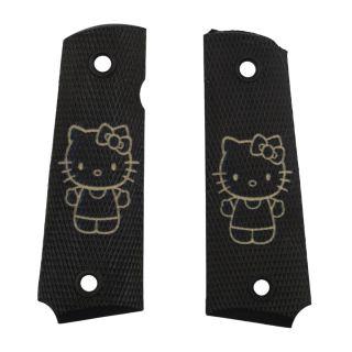 1911 Laser Engraved Grip - Hello Kitty Full Body - Tan on Black