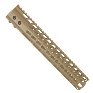 AR-10 12 Ultra Lightweight Thin Key Mod Free Floating Handguard With Monolithic Top Rail FDE