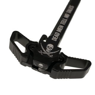 AR-10 Ambidextrous Charging Handle - Jolly Roger - Anodized Black