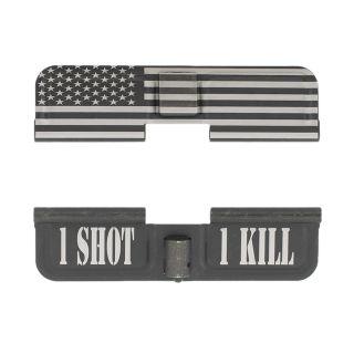 AR-10 Dust Cover - American Flag Wrap - 1 Shot 1 Kill - Phosphate Black