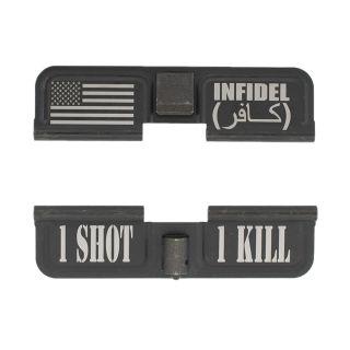 AR-10 Dust Cover - American Infidel - 1 Shot 1 Kill - Phosphate Black