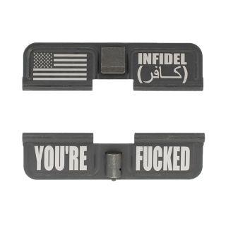 AR-10 Dust Cover - American Infidel - You're Fcked - Phosphate Black