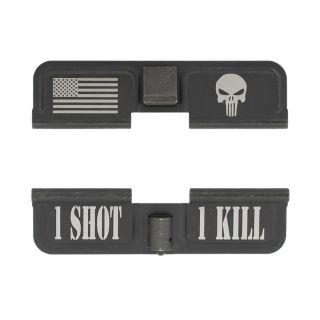 AR-10 Dust Cover - American Punisher - 1 Shot 1 Kill - Phosphate Black