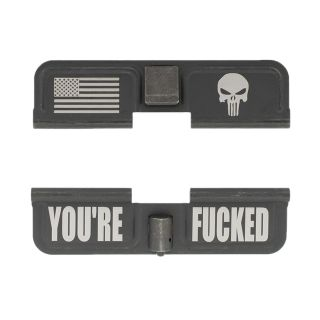 AR-10 Dust Cover - American Punisher - You're Fcked - Phosphate Black