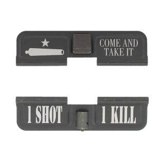AR-10 Dust Cover - Come and Take it - 1 Shot 1 Kill - Phosphate Black