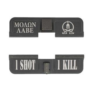 AR-10 Dust Cover - Molon Labe - 1 Shot 1 Kill - Phosphate Black
