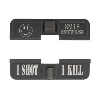 AR-10 Dust Cover - Smile! Wait for the Flash - 1 Shot 1 Kill - Phosphate Black