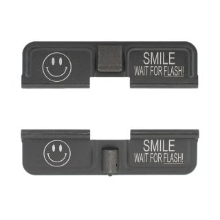 AR-10 Dust Cover - Smile! Wait for the Flash - Double Image - Phosphate Black
