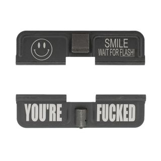 AR-10 Dust Cover - Smile! Wait for the Flash - You're Fcked - Phosphate Black
