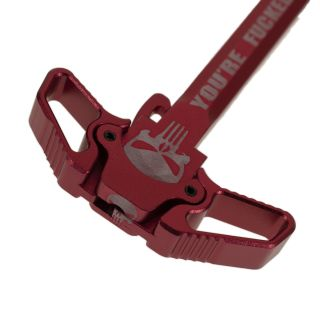 AR-15 Ambidextrous Charging Handle - Punisher Skull - Anodized Red