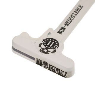 AR-15 Charging Handle - 2nd Amendment Skull - Cerakote White