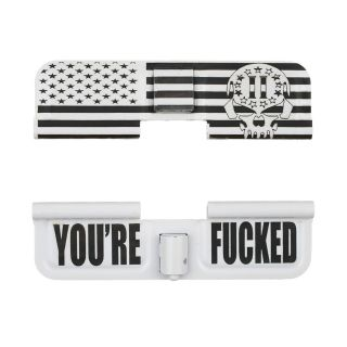 AR-15 Dust Cover - 2nd Amendment Skull Flag Wrap - You're Fucked - Cerakote White