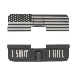 AR-15 Dust Cover - American Flag Wrap - 1 Shot 1 Kill - Phosphate Black