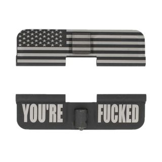 AR-15 Dust Cover - American Flag Wrap - You're Fcked - Phosphate Black