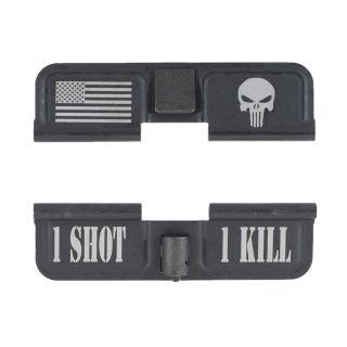 AR-15 Dust Cover - American Punisher - 1 Shot 1 Kill - Phosphate Black