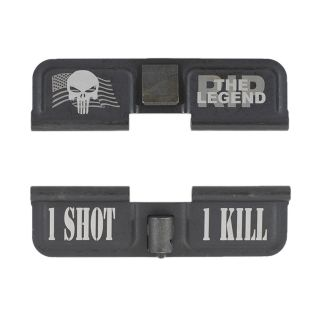 AR-15 Dust Cover - American Punisher RIP the Legend - 1 Shot 1 Kill - Phosphate Black
