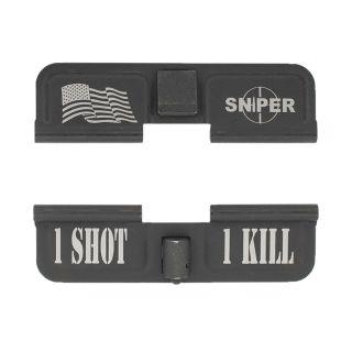 AR-15 Dust Cover - American Sniper - 1 Shot 1 Kill - Phosphate Black