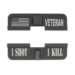 AR-15 Dust Cover - American Veteran - 1 Shot 1 Kill - Phosphate Black