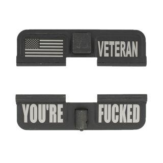 AR-15 Dust Cover - American Veteran - You're Fcked - Phosphate Black