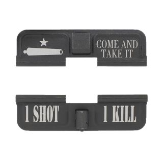 AR-15 Dust Cover - Come and Take It - 1 Shot 1 Kill - Phosphate Black