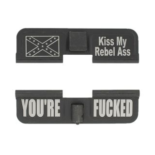 AR-15 Dust Cover - Confederate Flag - You're Fcked - Phosphate Black
