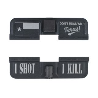 AR-15 Dust Cover - Don't Mess With Texas! - 1 Shot 1 Kill - Phosphate Black