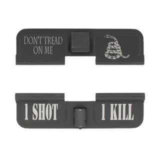 AR-15 Dust Cover - Don't Tread On Me - 1 Shot 1 Kill - Phosphate Black