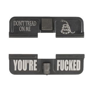 AR-15 Dust Cover - Don't Tread On Me - You're Fcked - Phosphate Black