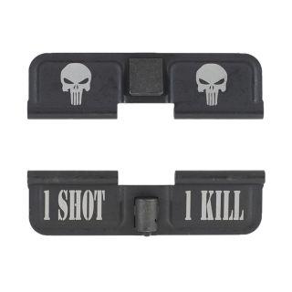 AR-15 Dust Cover - Double Punisher Skulls - 1 Shot 1 Kill - Phosphate Black