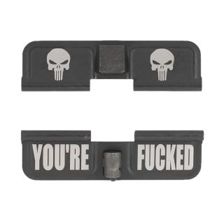AR-15 Dust Cover - Double Punisher Skulls - You're Fcked - Phosphate Black