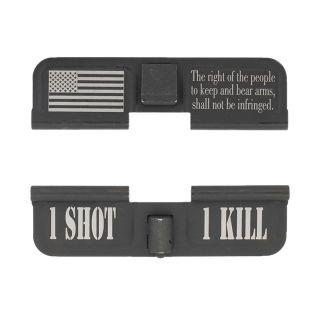 AR-15 Dust Cover - Flag 2nd Amendment - 1 Shot 1 Kill - Phosphate Black