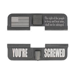 AR-15 Dust Cover - Flag 2nd Amendment - You're Screwed - Phosphate Black
