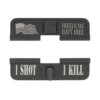AR-15 Dust Cover - Freedom Isn't Free - 1 Shot 1 Kill - Phosphate Black