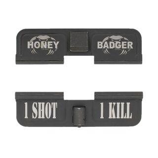 AR-15 Dust Cover - Honey Badger - 1 Shot 1 Kill - Phosphate Black
