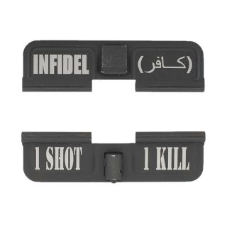 AR-15 Dust Cover - Infidel - 1 Shot 1 Kill - Phosphate Black