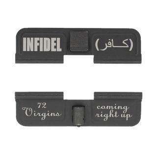 AR-15 Dust Cover - Infidel Arabic - 72 Virgins - Phosphate Black