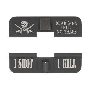 AR-15 Dust Cover - Jolly Roger - 1 Shot 1 Kill - Phosphate Black
