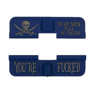 AR-15 Dust Cover - Jolly Roger - You're Fucked - Cerakote Blue