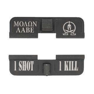 AR-15 Dust Cover - Molon Labe - 1 Shot 1 Kill - Phosphate Black