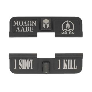 AR-15 Dust Cover - Molon Labe Logo plus Helm - 1 Shot 1 Kill - Phosphate Black