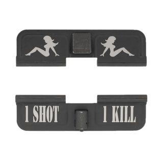AR-15 Dust Cover - Mudflap Girl - 1 Shot 1 Kill - Phosphate Black