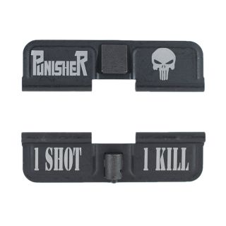 AR-15 Dust Cover - Punisher - 1 Shot 1 Kill - Phosphate Black
