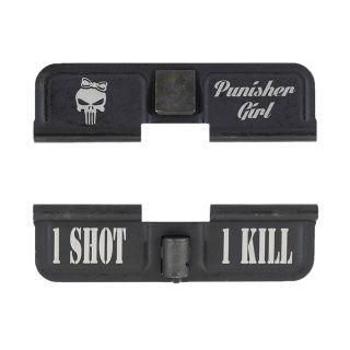 AR-15 Dust Cover - Punisher Girl - 1 Shot 1 Kill - Phosphate Black