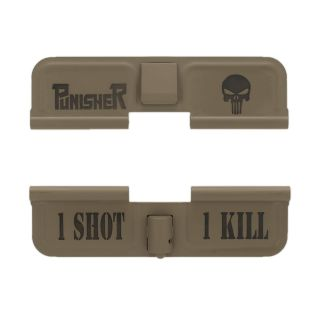 AR-15 Dust Cover - Punisher Skull - 1 Shot 1 Kill - Cerakote Flat Dark Earth