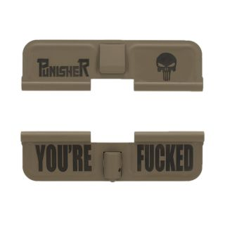 AR-15 Dust Cover - Punisher Skull - You're Fucked - Cerakote Flat Dark Earth